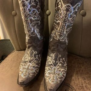 Corral boots. Leather and glitter. Sz 8.5